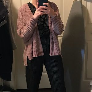 UO taupe chenille cardigan